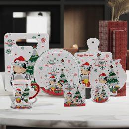 Ceramic coasters set with cow design
