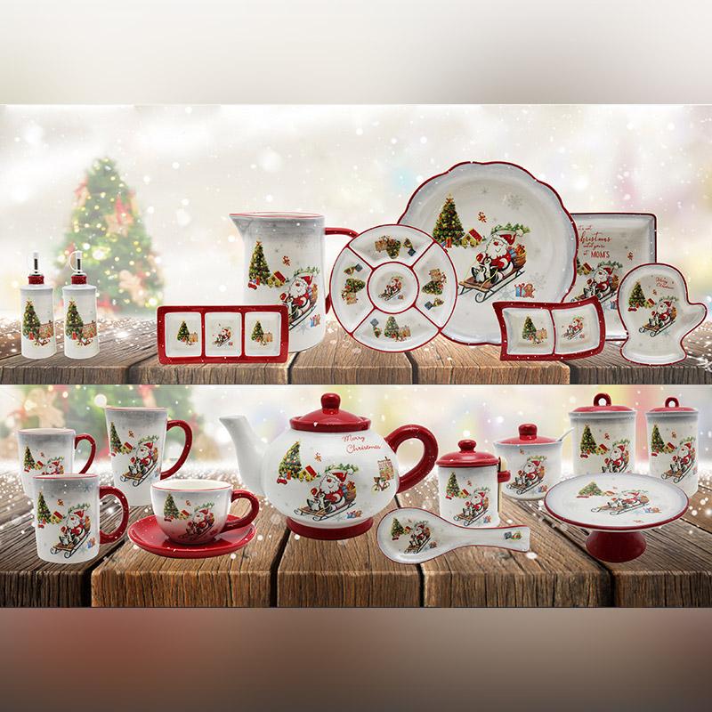 Christmas ceramic kitchenware set plate teapot mug set