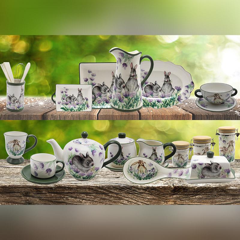 Ceramic dolomite kitchenware set ceramic rabbit set