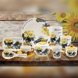 Ceramic cup with saucer set rose flower design