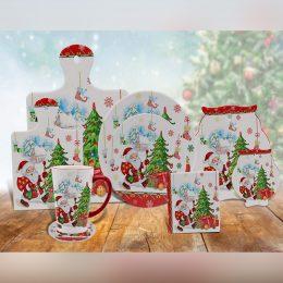 Christmas ceramic coasters set