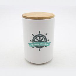 Ceramic storage jar set with wooden lid